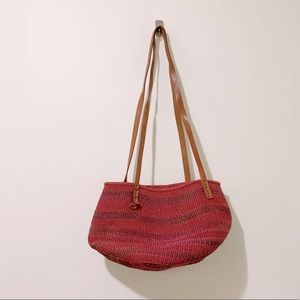 Colourful Woven Market Basket Bag w/Leather Straps